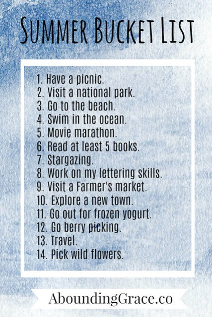 Summer Bucket List 2017
