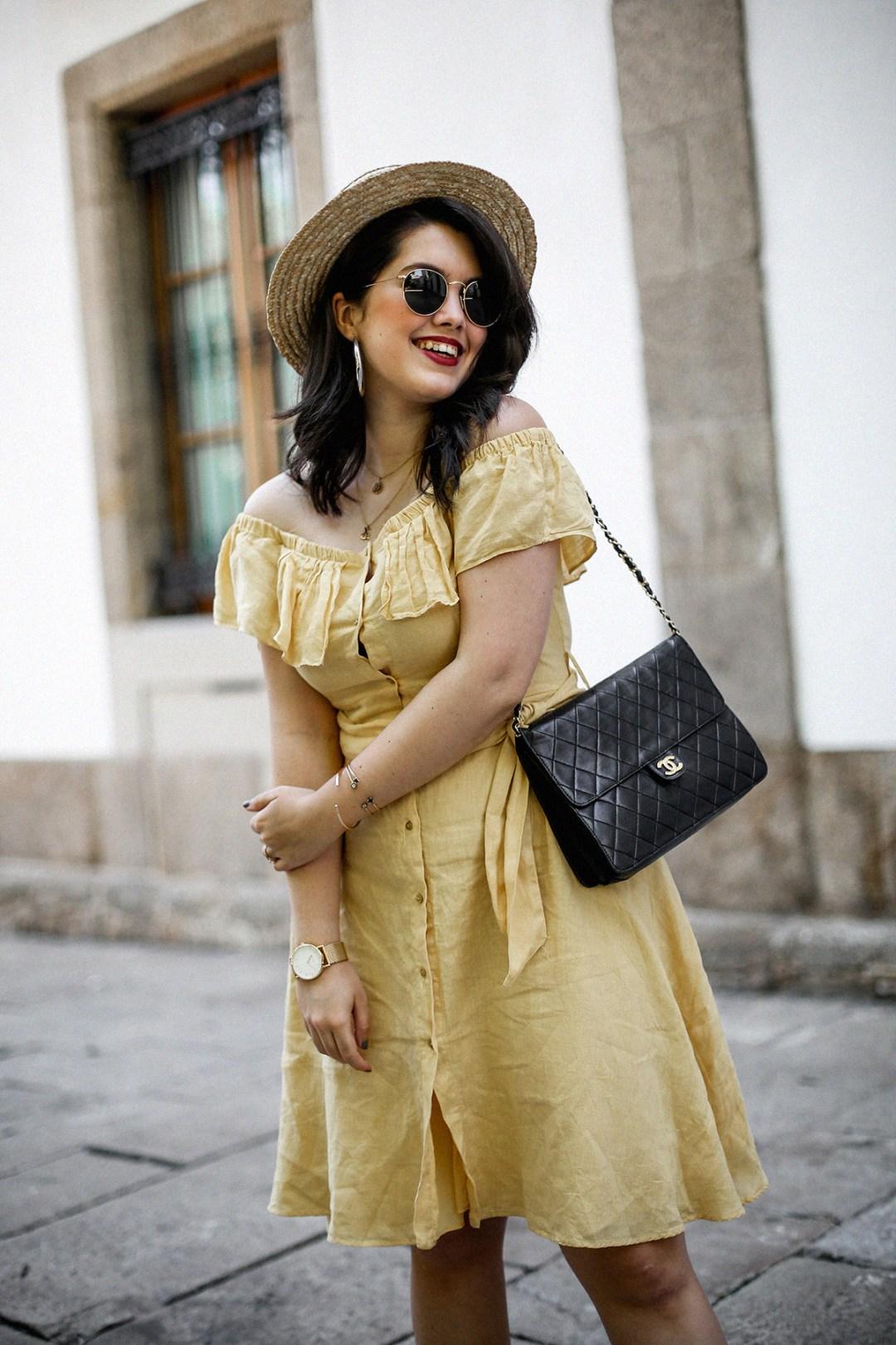 vestido-amarillo-hombros-descubiertos-zara-chanel-vintage-vestiaire-collective10