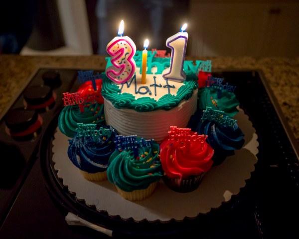 Matt 31st Birthday Cake And Cupcakes Candles 1