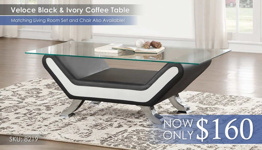 Veloce Black and Ivory Coffee Table 8219