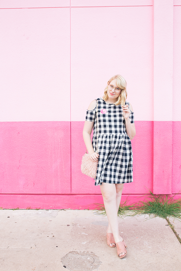 austin fashion blogger writes like a girl gingham dress pink mules4