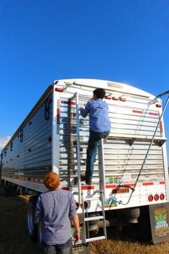 Climbing around the truck.