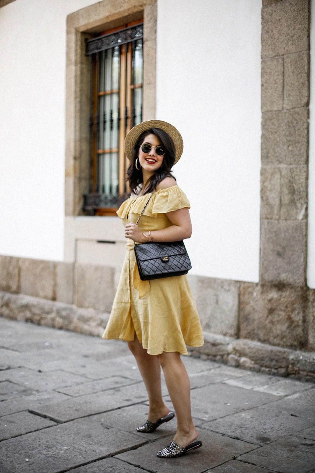 vestido-amarillo-hombros-descubiertos-zara-chanel-vintage-vestiaire-collective6