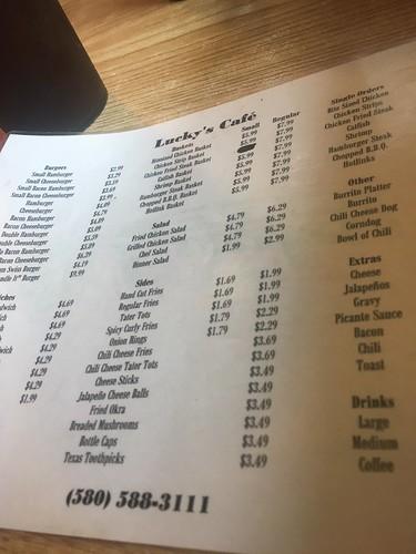 The Lucky's menu.