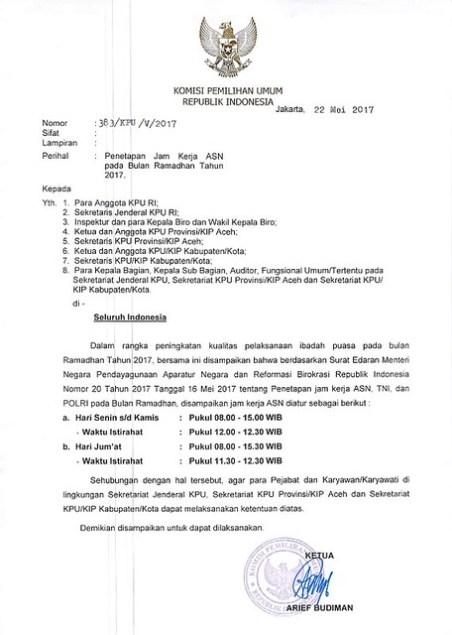 SE KPU RI Terkait Penetapan Jam Kerja Selama Ramadhan 1438 H