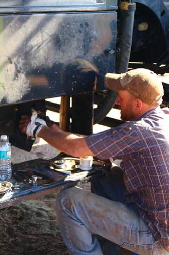 John fixing a tailing bearing.
