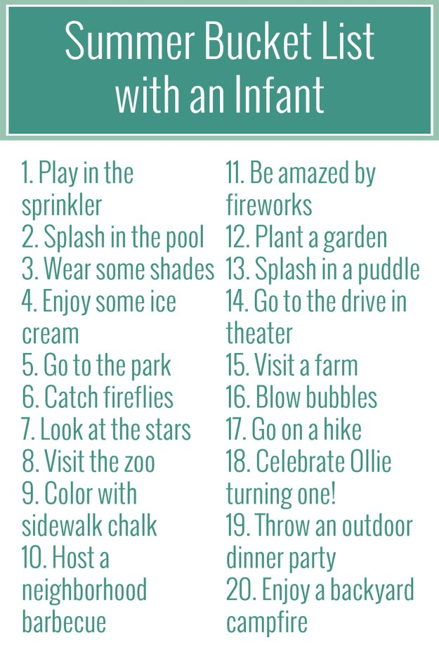 Summer Bucket List with an Infant