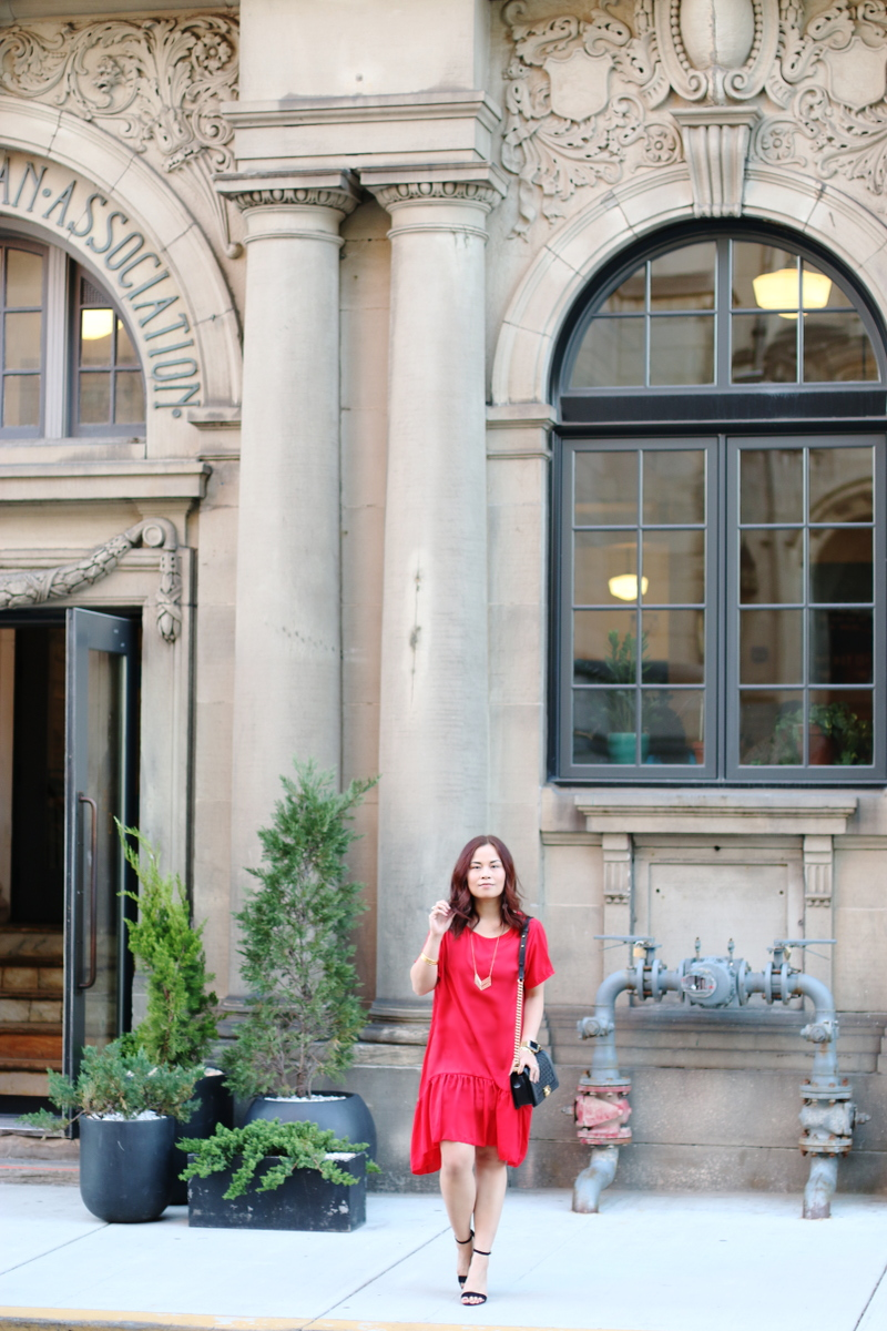romwe-red-dress-chanel-bag-black-strap-sandals-3