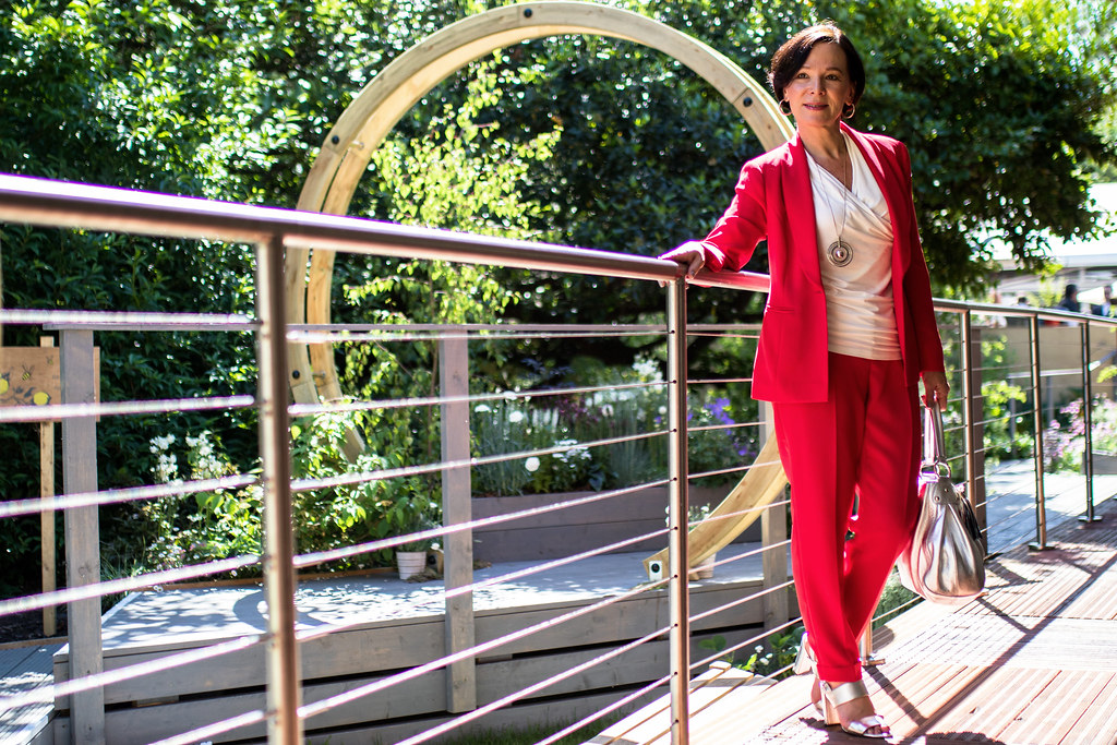 RHS Chelsea Flower Show London Madeleine Fashion Red Trouser Suit LadyofStyle 30