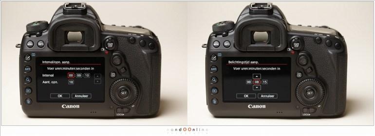 Het menu voor de timelapse functie van de Canon EOS 5D mark IV. Alles ligt voor de hand... of toch niet?