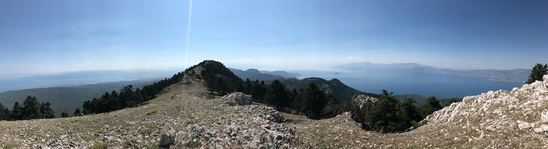 panoramic view of saronic and corinthian gulf from the top of geraneia mountains makryplagi