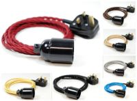 Twisted Fabric Flex Cable Plug In Pendant Lamp Light Set ...
