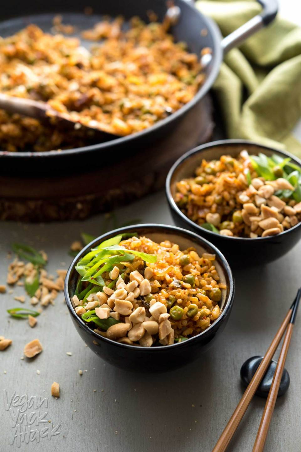 Vegan Kimchi Fried Rice, from the new Bold Flavored Vegan Cooking cookbook! So easy and WAY delicious! #vegan #glutenfree