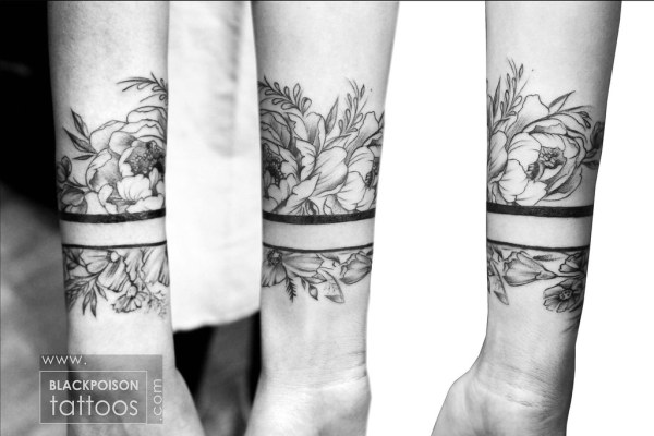 Flower wrist band tattoo When you combine the beauty of