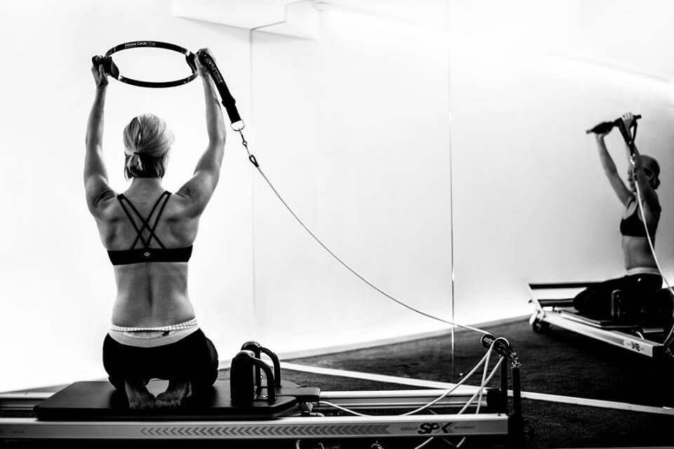 Reformer Pilates Photography  Fit Circle Exercise Monochr