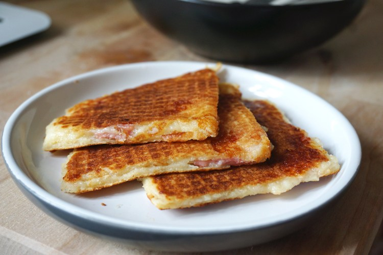Gluten free waffle toasties quesadillas things with ham and cheese filling