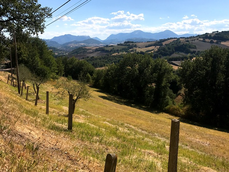 beautiful view of monte cucco in marche italy - italy cycling trip