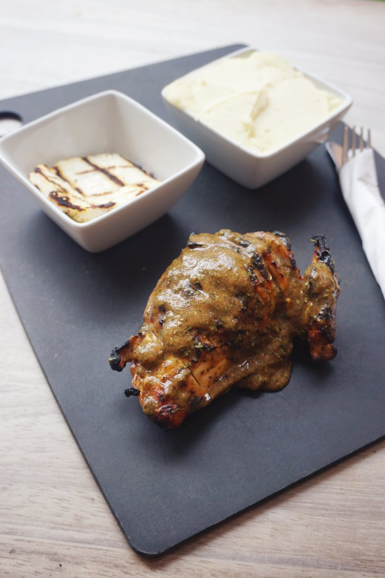 Roosters Piri Piri grilled chicken with Lebanese sauce, grilled halloumi and mashed potatoes | gluten free friendly restaurant chain | London + UK