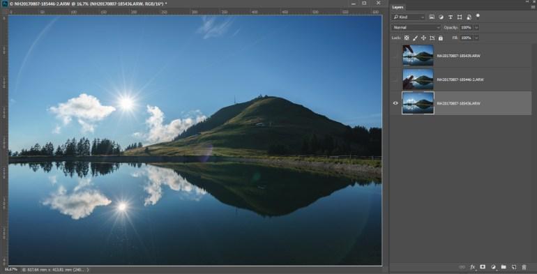 De drie foto's worden in Photoshop als lagen boven elkaar geopend. (de optie
