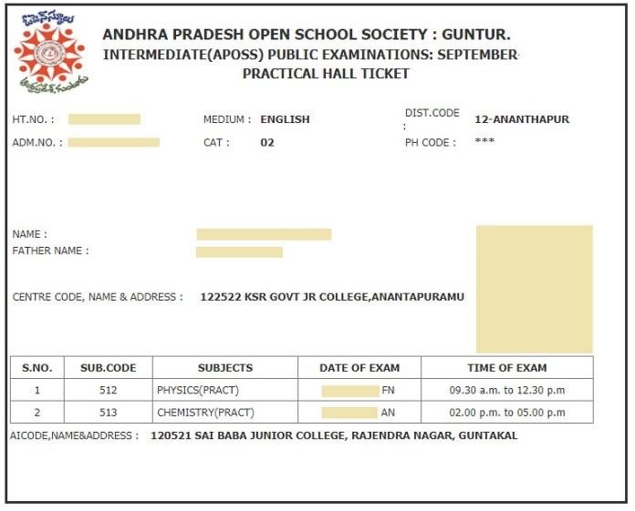 APOSS Hall Ticket