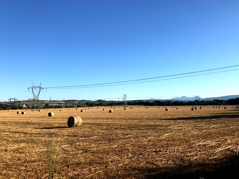 Wide fields, hay rolls, and electric cables in marche italy