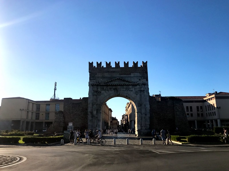 The arch of Augustus in Rimini under blue sky