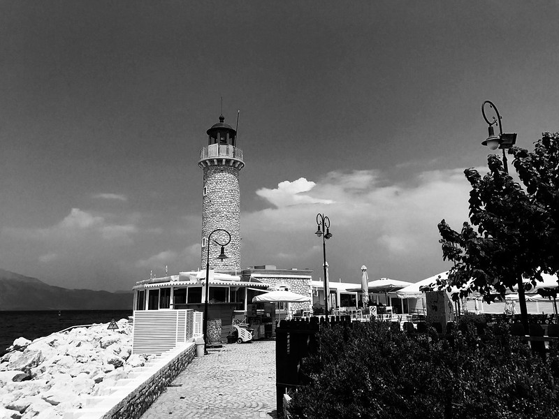 lighthouse in Patras greece black and white