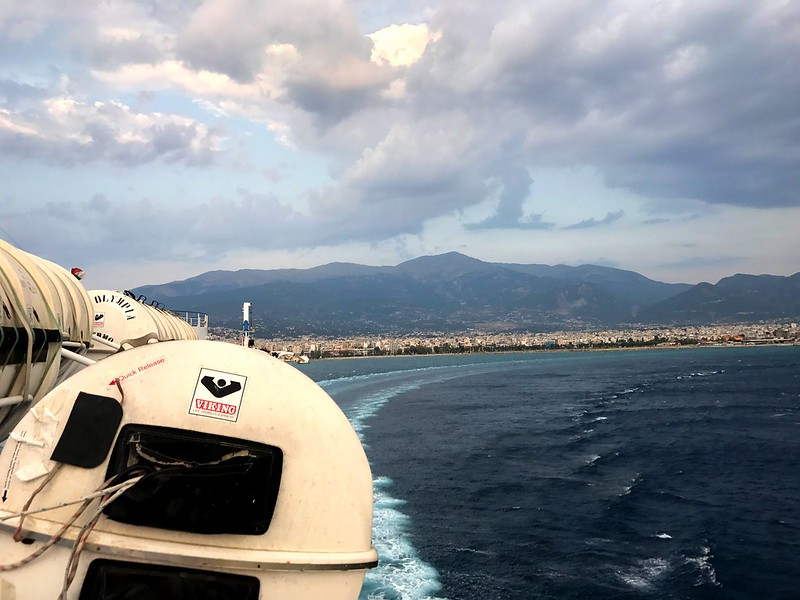 The view of Patras and the mountains of north Peloponnese from the departing boat.