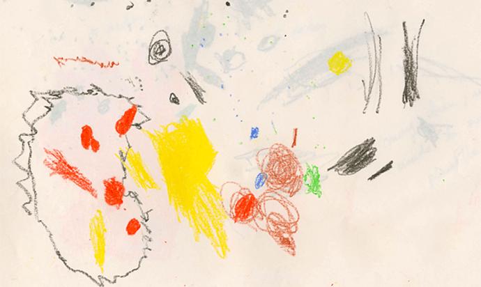 Ejemplo de dibujo a los 2 años de edad, aproximadamente.