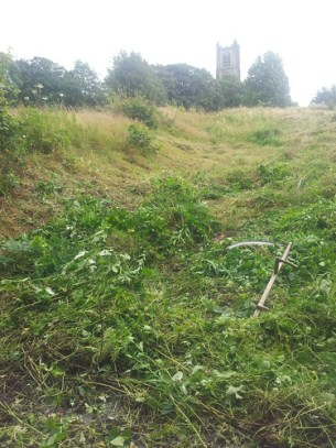 Scything tough weeds on slopes