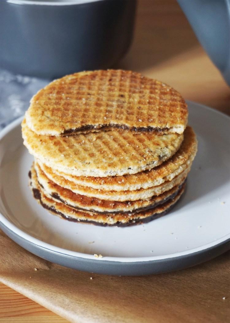 Stack of gluten free Dutch waffles | stroopwafels | syrup waffles | caramel waffles
