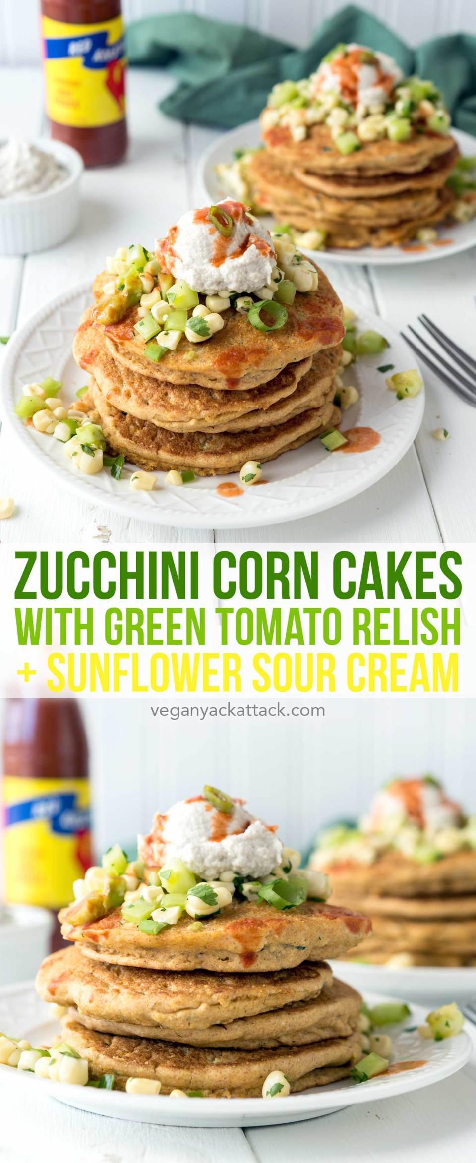 Zucchini Corn Cakes with Green Tomato Relish + Sunflower Sour Cream! A wonderful, savory, summer breakfast. #vegan #soyfree #nutfree #veganyackattack