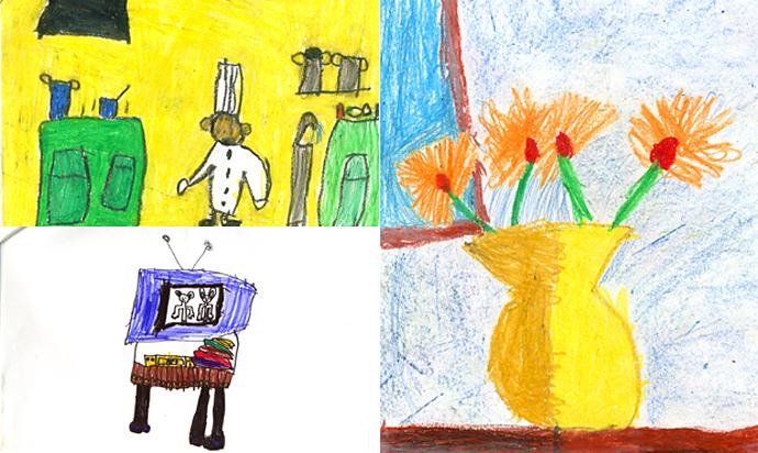 Ejemplos de dibujos, entre 5 y 8 años de edad.