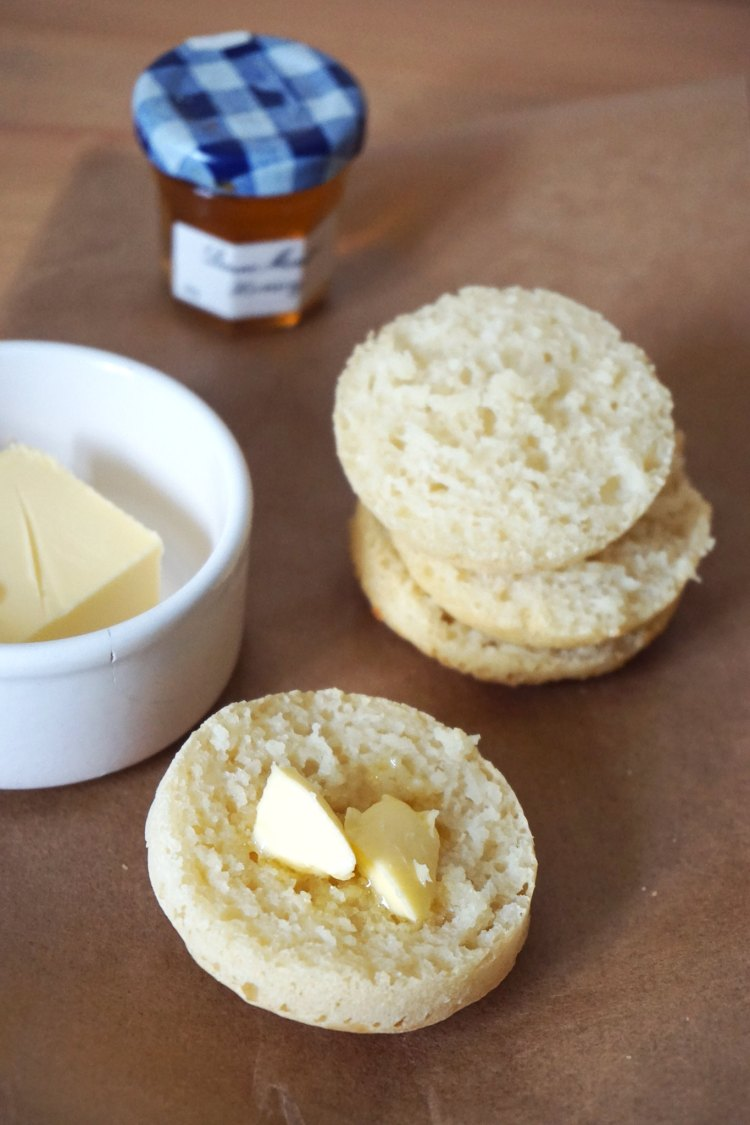 Baked gluten free crumpets with butter