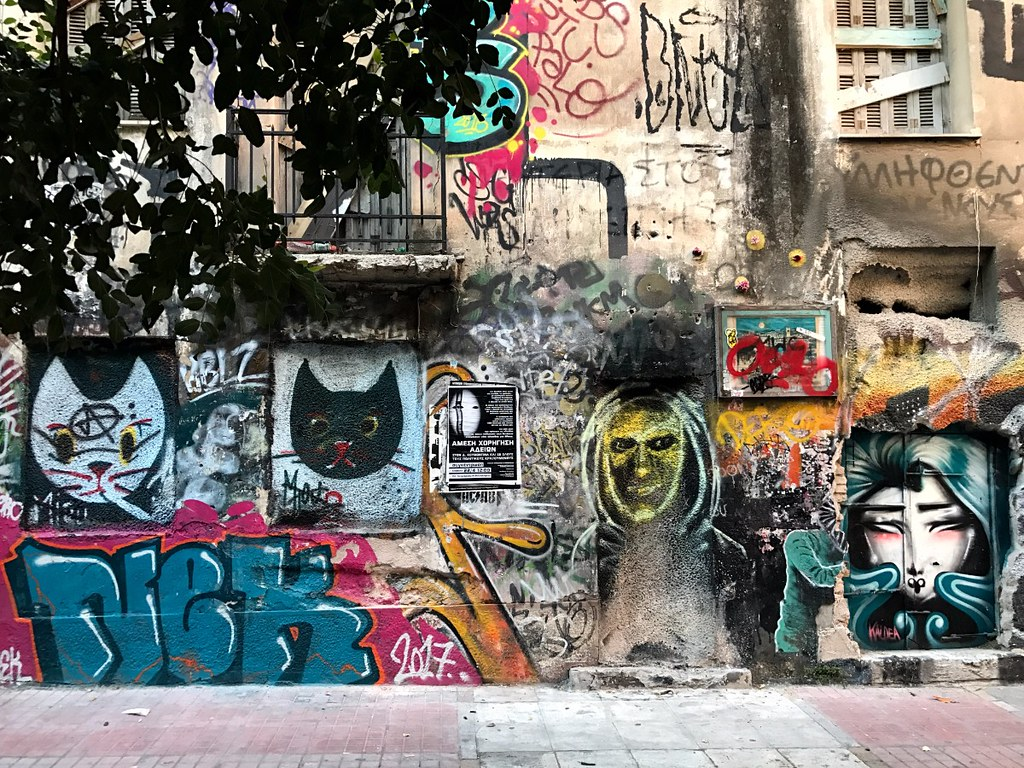 painted walls in pedestrian street in exarcheia athens