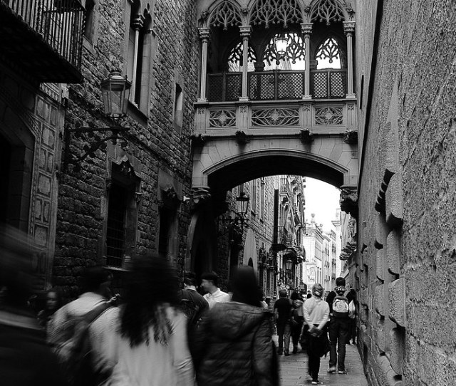 Barrio Gotico Gothic Quarter Barcelona Spain In B W By Stefano
