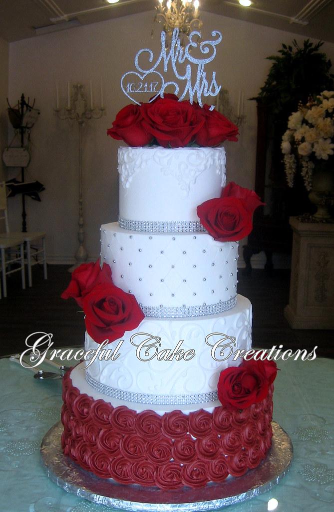 Elegant White Butter Cream Wedding Cake with Burgundy Rose  Flickr