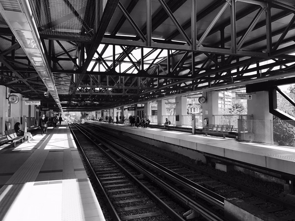 ano patisia metro station in athens black and white