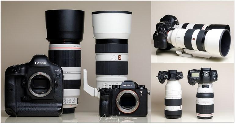 Actie camera's naast elkaar. de Sony A9 is weliswaar kleiner van formaat, de objectieven blijven even groot.