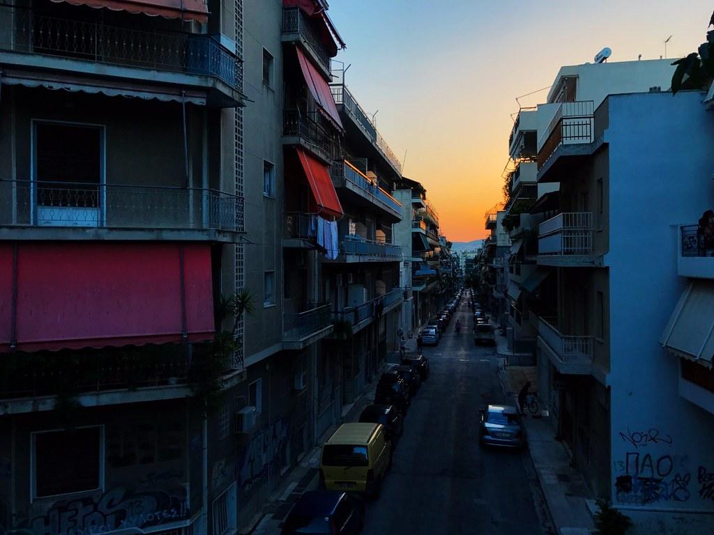 sunset in a typical atenian neighborhood