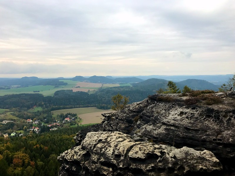 view of saxon switzerland from the top of kleiner zschirnstein