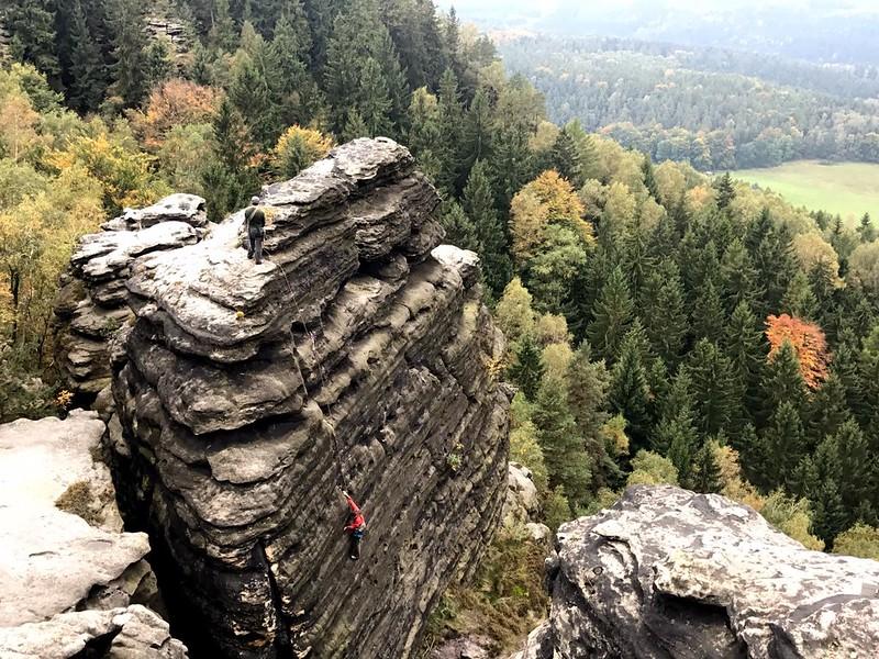 rock climbing in Zschirnstein in saxon switzerland