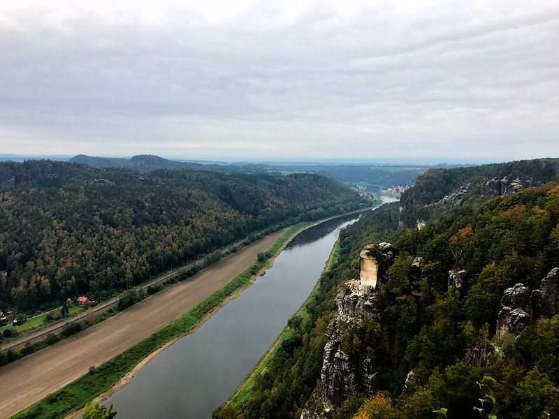beautiful view of elbe river from bastei bridge in saxon switzerland