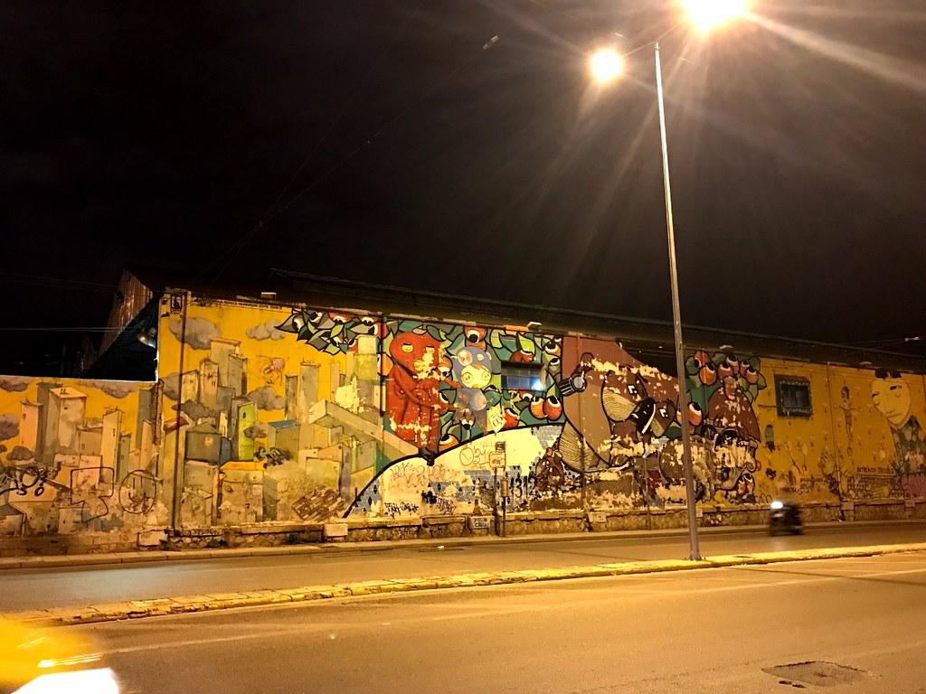 long wall with graffiti in kerameikos athens