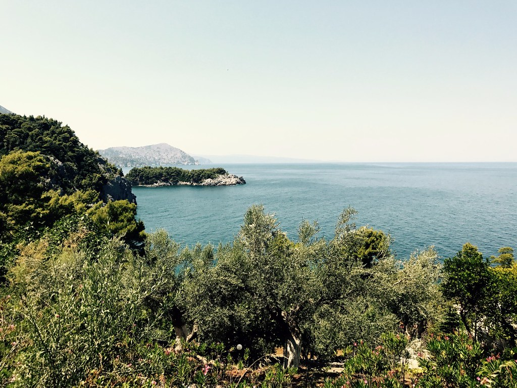 view of aegean sea from north euboea island