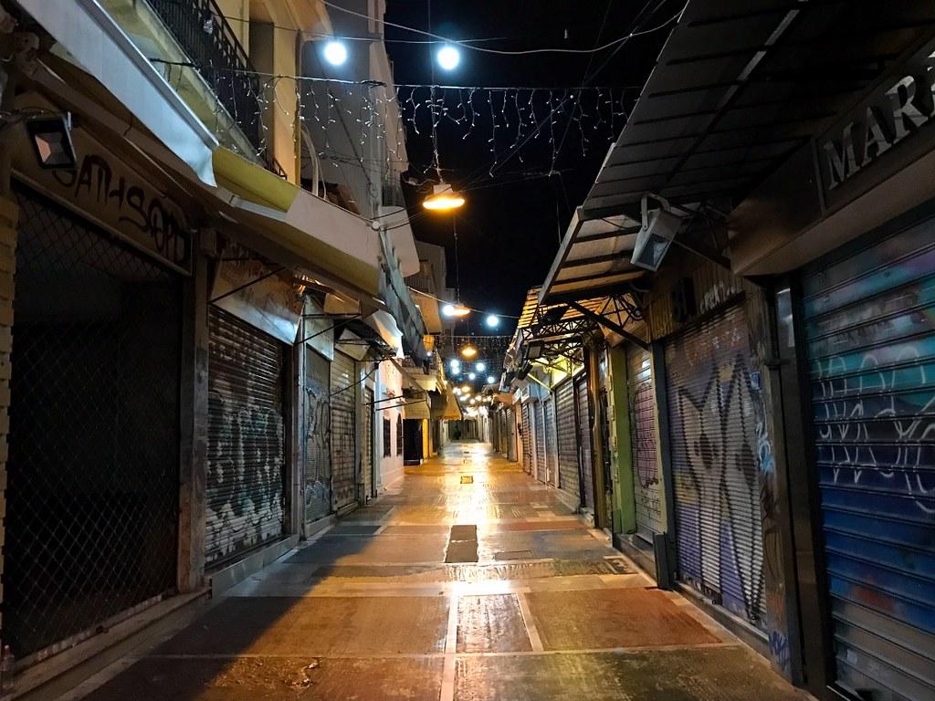 monastiraki flea market street at night