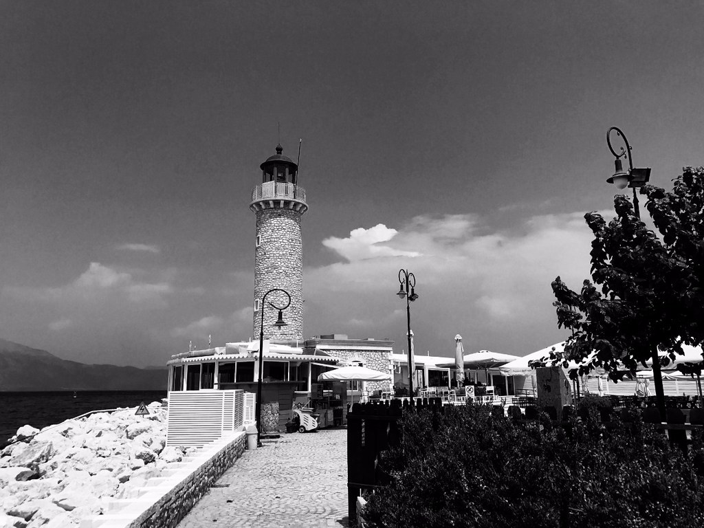 lighthouse in patras, greece black and white
