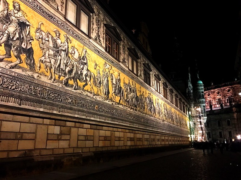 yellow mural of horse riders in dresden