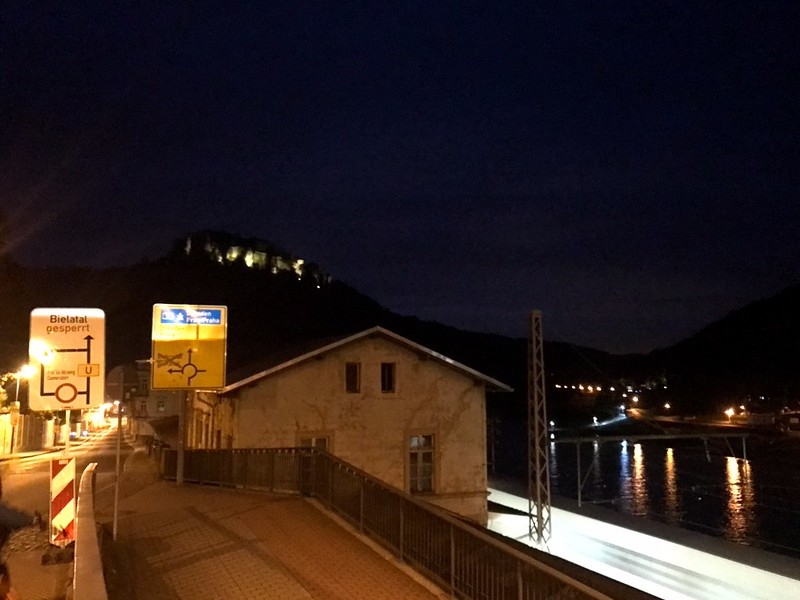 night view of Königstein fortress in saxon switzerland