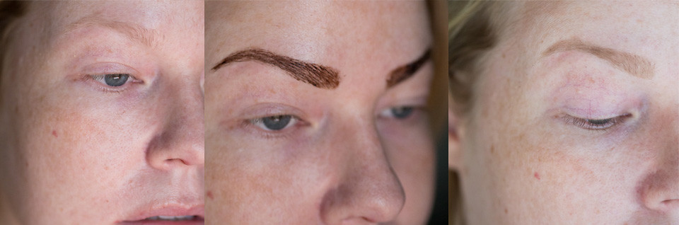 maybelline tattoo brow peel-off tint in use